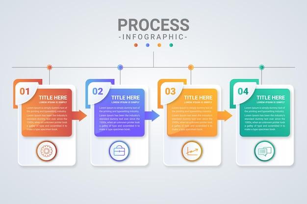 Modelo de infográfico de processo gradiente colorido
