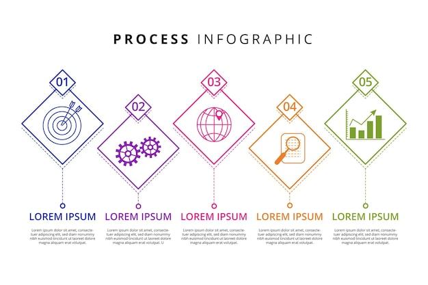 Modelo de infográfico de processo plano linear