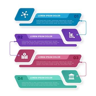 Modelo de infográfico de processo plano