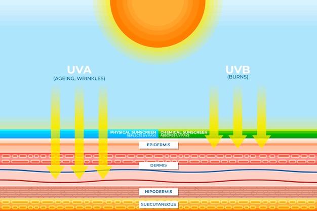 Modelo de infográfico de proteção solar plana