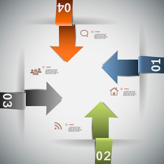 Modelo de infográfico de quatro etapas