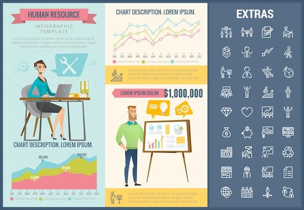 Modelo de infográfico de recursos humanos e conjunto de ícones