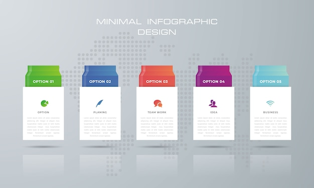 Modelo de infográfico de retângulo com opções, fluxo de trabalho, gráfico de processos