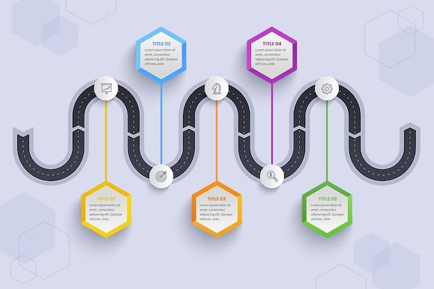Modelo de infográfico de roteiro de gradiente