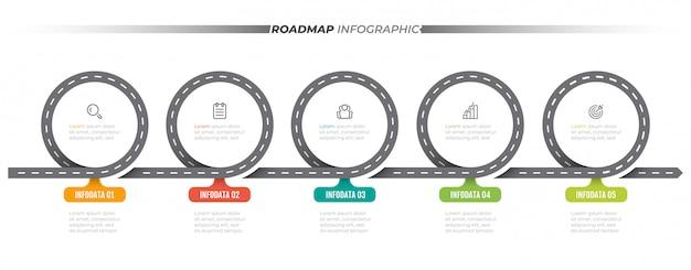 Modelo de infográfico de roteiro. linha do tempo com 5 etapas, opções. rótulo de projeto de conceito de negócio e ícones.