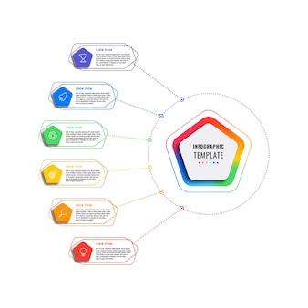 Modelo de infográfico de seis etapas com pentágonos e elementos poligonais em um fundo branco. visualização de processos de negócios modernos com ícones de marketing de linha fina.