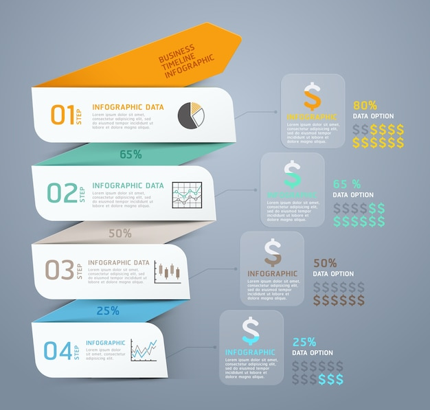 Modelo de infográfico de seta de etapa de negócios.