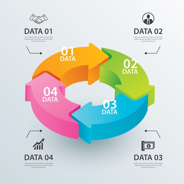 Modelo de infográfico de setas de círculo de negócios com 4 dados.