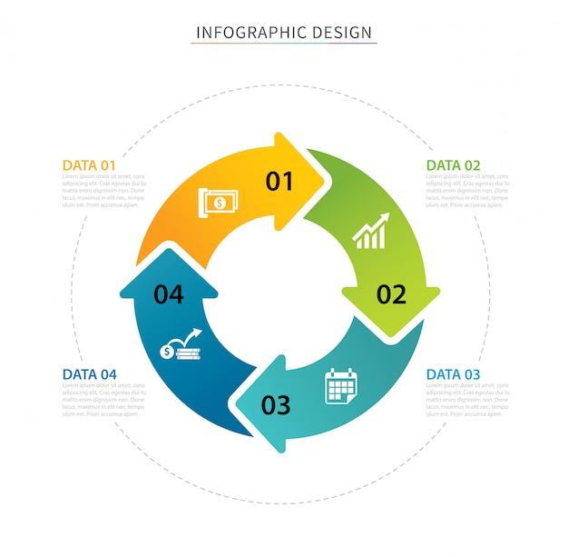 Modelo de infográfico de setas de círculo de negócios com quatro dados.
