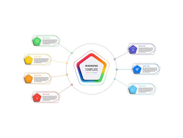Modelo de infográfico de sete etapas com pentágonos e elementos poligonais em um fundo branco. visualização de processos de negócios modernos com ícones de marketing de linha fina. Vetor Premium