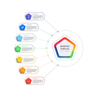 Modelo de infográfico de sete etapas com pentágonos e elementos poligonais em um fundo branco. visualização de processos de negócios modernos com ícones de marketing de linha fina.