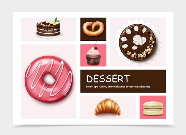 Modelo de infográfico de sobremesas e bolos com torta donut cupcake macaroon croissant pretzel em ilustração de estilo realista