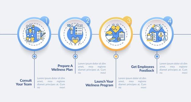 Modelo de infográfico de sucesso de bem-estar do espaço de trabalho. construção de equipes, planejamento de elementos de design de apresentação. etapas de visualização de dados. gráfico de linha do tempo do processo. layout de fluxo de trabalho com ícones lineares