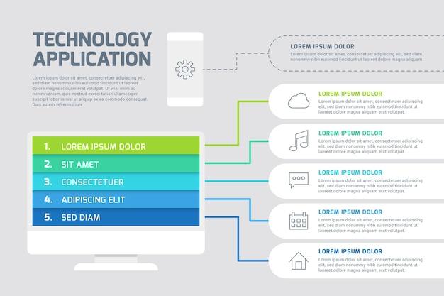 Modelo de infográfico de tecnologia colorida