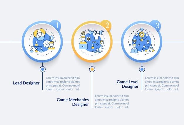 Modelo de infográfico de tipos de designers de jogos. principais elementos de design de apresentação do designer. visualização de dados em 3 etapas. gráfico de linha do tempo do processo. layout de fluxo de trabalho com ícones lineares