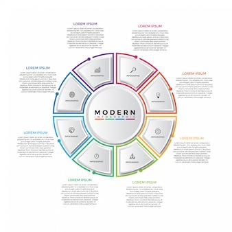 Modelo de infográfico de torta de linha fina colorida