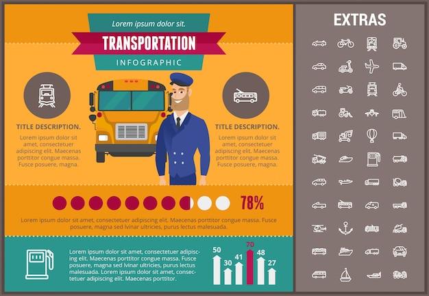 Modelo de infográfico de transporte e elementos