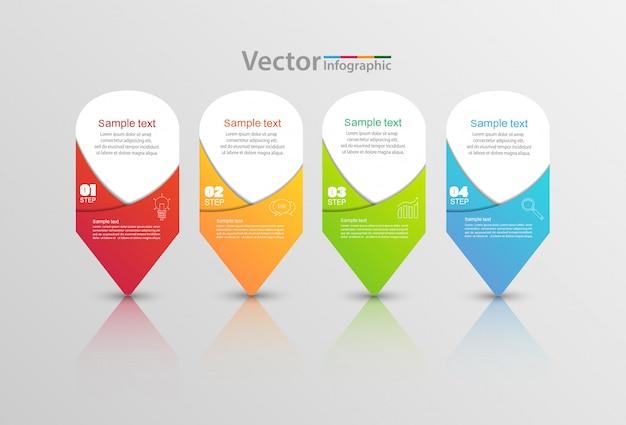 Modelo de infográfico de vetor com 4 opções