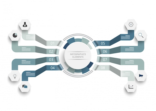 Modelo de infográfico de vetor com círculos integrados. conceito de negócio com 8 opções.