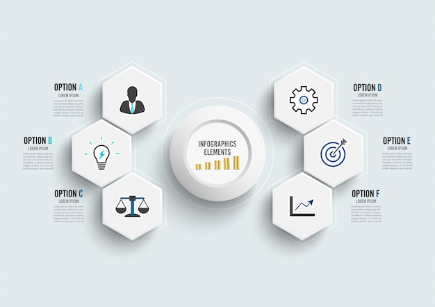 Modelo de infográfico de vetor com etiqueta de papel 3d, círculos integrados. conceito de negócio com 6 opções.