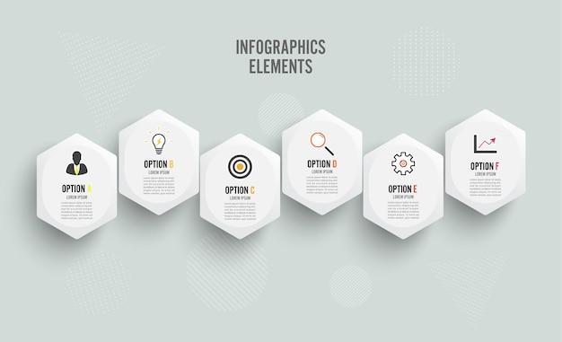 Modelo de infográfico de vetor com etiqueta de papel, círculos integrados