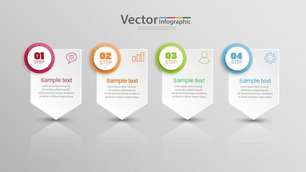 Modelo de infográfico de vetor com opções, fluxo de trabalho, gráfico de processos