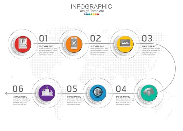 Modelo de infográfico de vetor com seis opções e ícones.