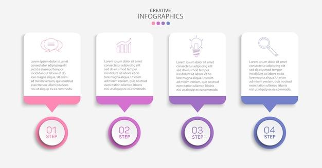 Modelo de infográfico de vetor criativo com ícones e 4 etapas
