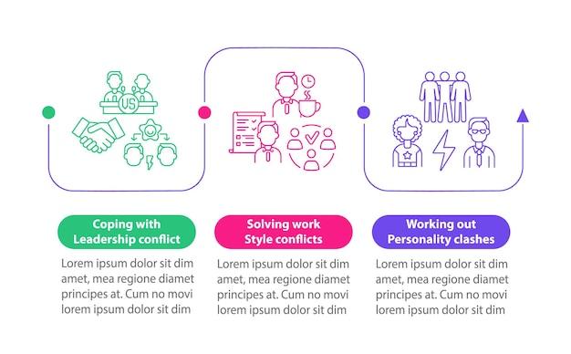 Modelo de infográfico de vetor de conflitos de equipe. elementos de design de estrutura de tópicos de apresentação de comunicação. visualização de dados em 3 etapas. gráfico de informações do cronograma do processo. layout de fluxo de trabalho com ícones de linha