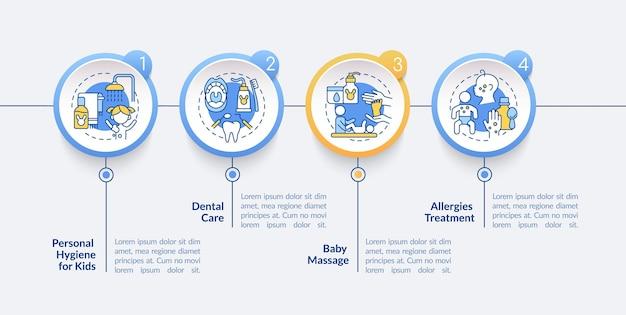 Modelo de infográfico de vetor de cuidados de saúde do bebê. elementos de design de estrutura de tópicos de apresentação de saúde física infantil. visualização de dados em 4 etapas. gráfico de informações do cronograma do processo. layout de fluxo de trabalho com ícones de linha