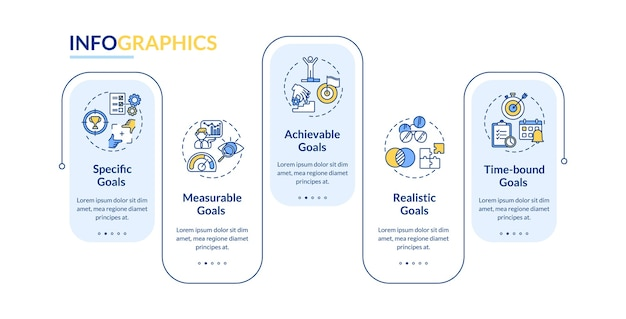 Modelo de infográfico de vetor de definição de metas inteligentes