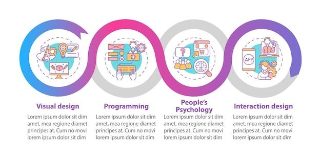 Modelo de infográfico de vetor de design de produto. elementos de design de estrutura de tópicos de apresentação de design visual. visualização de dados em 4 etapas. gráfico de informações do cronograma do processo. layout de fluxo de trabalho com ícones de linha