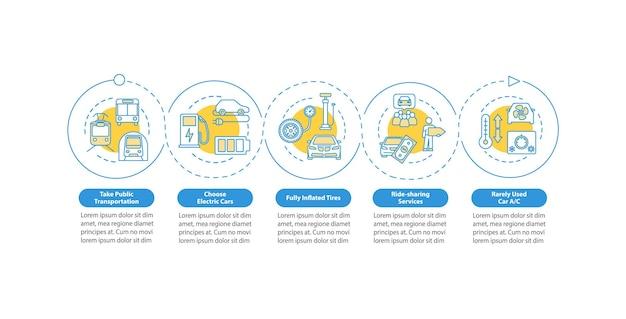 Modelo de infográfico de vetor de eficiência de recursos. elementos de design de apresentação de viagens seguras e baratas. visualização de dados em cinco etapas. gráfico de linha do tempo do processo. layout de fluxo de trabalho com ícones lineares