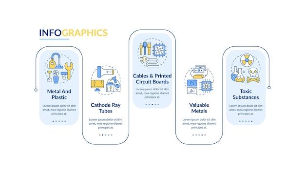 Modelo de infográfico de vetor de elementos de lixo eletrônico. tubos de raios catódicos, elementos de design de apresentação de metais. visualização de dados em 5 etapas. gráfico de linha do tempo do processo. layout de fluxo de trabalho com ícones lineares
