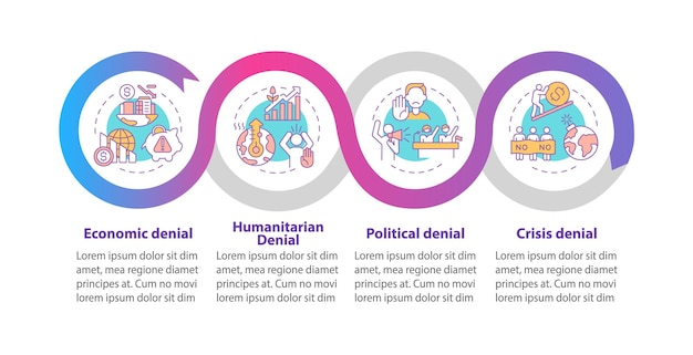 Modelo de infográfico de vetor de negação humanitária. elementos de design de estrutura de tópicos de apresentação de negação política. visualização de dados em 4 etapas. gráfico de informações do cronograma do processo. layout de fluxo de trabalho com ícones de linha