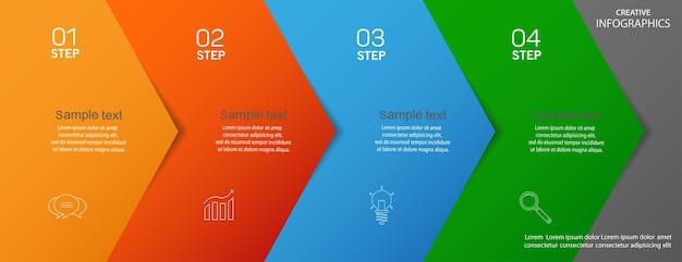 Modelo de infográfico de vetor de negócios com ícones e 4 etapas