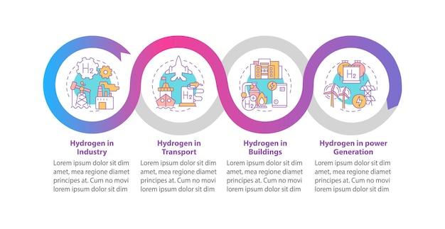 Modelo de infográfico de vetor de uso de hidrogênio. h2 em elementos de design de estrutura de tópicos de apresentação da indústria. visualização de dados em 4 etapas. gráfico de informações do cronograma do processo. layout de fluxo de trabalho com ícones de linha