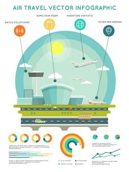 Modelo de infográfico de vetor de viagens aéreas com aeroporto e aeronaves. transporte e viagens, companhia aérea de transporte