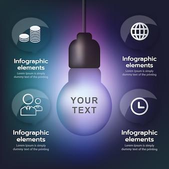 Modelo de infográfico de vetor, pendurado a lâmpada cresce, ilustração, conceito de idéia