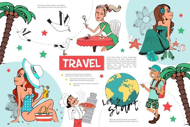 Modelo de infográfico de viagens planas