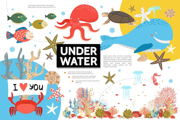 Modelo de infográfico de vida plana subaquática