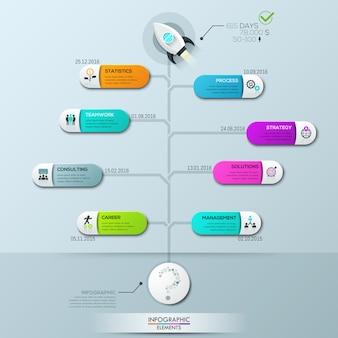 Modelo de infográfico, diagrama de árvore vertical com 8 elementos conectados e caixas de texto