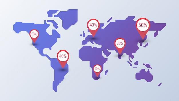 Modelo de infográfico do mapa mundo