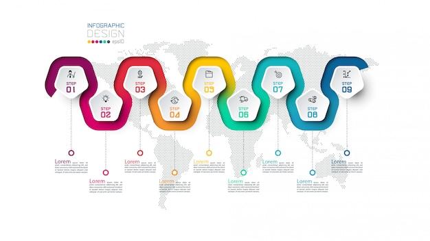 Modelo de infográfico do pentágono colorido de 9 etapas.