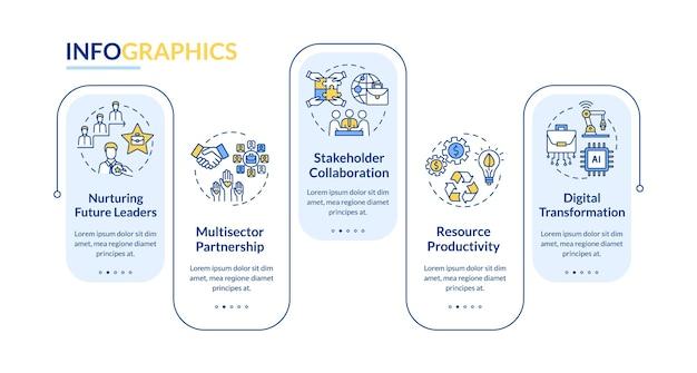 Modelo de infográfico do trabalho em equipe corporativo. elementos de apresentação de parceria de funcionários. visualização de dados com etapas. gráfico de linha do tempo do processo. layout de fluxo de trabalho com ícones lineares