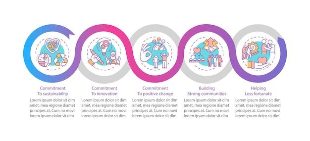 Modelo de infográfico dos principais valores da empresa. sustentabilidade, elementos de design de apresentação de inovação.
