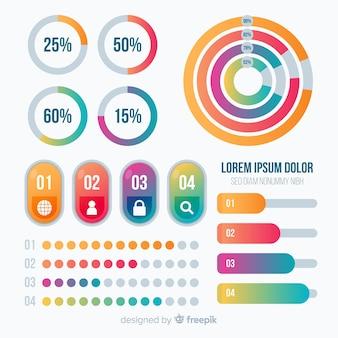 Modelo de infográfico em estilo gradiente colorido