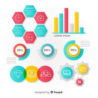 Modelo de infográfico em estilo gradiente