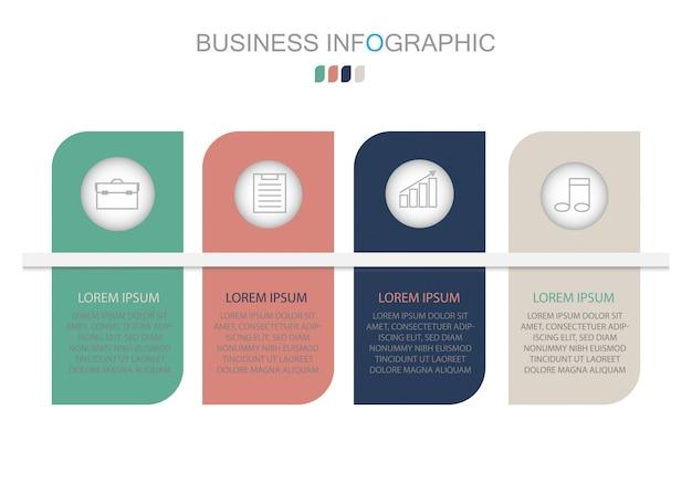 Modelo de infográfico em quatro etapas