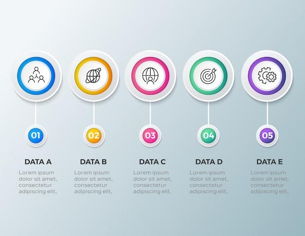 Modelo de infográfico empresarial moderno de 5 passos